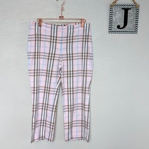 Burberry pink plaid cropped pants